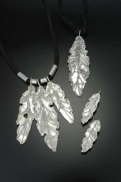 Feather Motif Pendant and Earrings